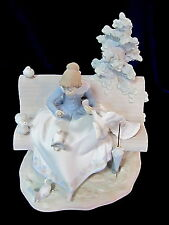 LLADRO #15428 FEEDING THE PIGEONS BNIB GIRL BENCH DOVE RARE $320 OFF BARGAIN F/S