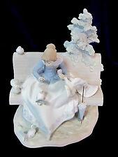 Lladro #15428 Feeding The Pigeons Bnib Girl Bench Dove Rare $320 Off Bargain F/S