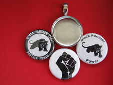 Black Panther Party Handmade Interchangeable Magnetic Pendant Necklace