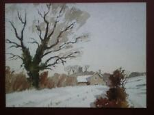 POSTCARD GLOUCESTERSHIRE SNOW IN THE COTSWOLDS PAINTING BY JAMES FLETCHER WILSON