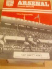 Arsenal v.Coventry Division 1 Saturday 11th October 1975