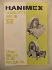 Instructions slide projector HANIMEX LA RONDETTE 400S QI  CD/EMail