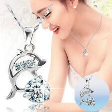 Jt59 Jumping Dolphins Rhinestone Creative Necklace Pendant Gift Love Souvenir
