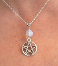 Moonstone & Pentacle Necklace Moon Goddess Pagan Wicca Silver Pendant Pentagram