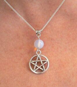 Moonstone & Pentacle Necklace Pagan Silver Pendant Pentagram Lammas Solstice