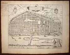 carte geographique vue de la ville d'ORLEANS par BRAUN et HOGENBERG 1572