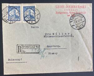 1933 Bydgoszcz Poland Registered Cover To Augsburg Germany