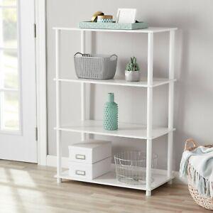Mainstays No Tools 4 Shelf Standard Storage Bookshelf, White (NEW)