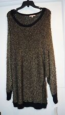 GIBSON LATIMER - Black & Gold Stripe Sweater FUZZY COLLAR HEM CUFFS NWT $135 LG
