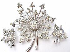 Pennino Clear Rhinestone Brooch & Earring Demi Set Vintage Signed Flower Jewelry