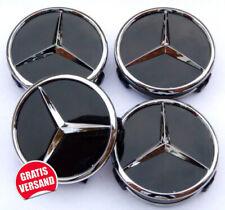 4x 60mm Mercedes-Benz Nabendeckel Nabenkappen Felgendeckel Schwarz/Glanz NEU