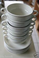 6 Suppentassen Bauscher Weiden DB Patent fabrikdekoriert Untertassen Porzellan
