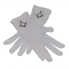 One Size White Cotton Gloves with Embroidered Silver Masonic Design XLFG010