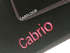 Opel Astra F Cabrio Fußmatten Velours schwarz Deluxe mit Cabrio gestickt pink