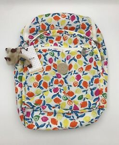 NWT Kipling Seoul Large Backpack with Laptop Protection Citrus Smash & Keychain