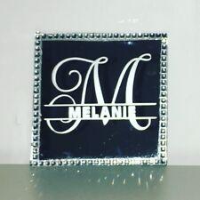 Personalised Diamante Mirror Coaster Stocking Filler Christmas Mum Dad Any Name