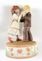 "Vintage Enesco Treasured Memories Puppy Love ""1-2-3, 1-2-3"" Porcelain Music Box"