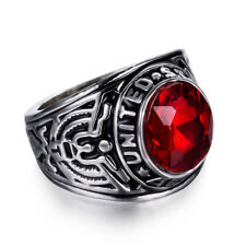 US Army Military Ring 316L Stainless Steel Ruby Red Siam CZ Size 10