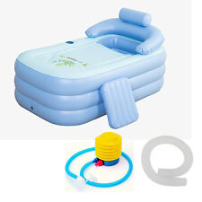 160CM Adult Blowup Folding Warm Inflatable Bathtub With Foot Air Pump Spa