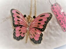 betsey johnson gold with pink butterfly necklace..