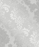 F Decor Quartz Silver Glitter Damask Wallpaper Luxury Shimmer Textured Fd41965
