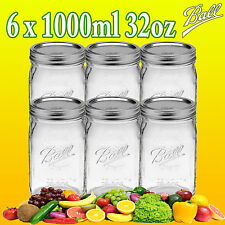 6 x Ball Mason Quart (1 Litre) Wide Mouth Jars and Lids Fermenting Canning