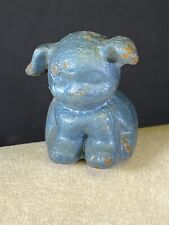 Blue Pup Cast Iron Small Dog Paperweight Figure Vintage Antique