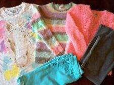 Justice Girl Sz 12 Pastel Purple Pink Fuzzy Sweaters Pant Shorts & Horse Tee 5pc