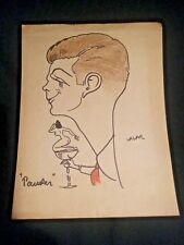 Lazar Krstich Caricature Circa 1949 Mid Century Naked Lady in Champagne Glass