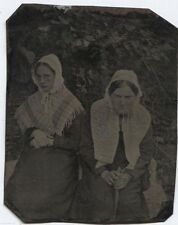 ANTIQUE TINTYPE TWO BOYS PLAY ACTING DRESSED AS OLD WOMEN