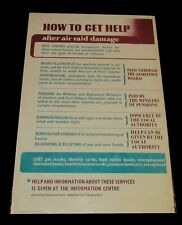 More details for 100% original 1940's ww2 arp 'how to get help after air raid damage'. home front