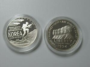 US 1991 Korea & 1994 Military Woman Commemorative PROOF SILVER DOLLARS w CAPSULE