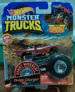 hot wheels monster trucks RED DODGE CHARGER R/T with connect and crash car