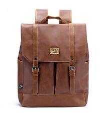 02 Mens school Leather laptop College book Backpack Rucksack Travel Hiking Bag
