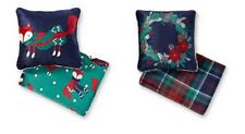 Cannon Navy Blue Christmas Sherpa Pillow & Throw Blanket Set - Fox, Wreath