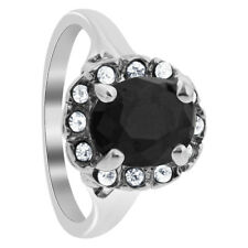 Silver Plated Oval Faceted Black CZ Solitaire with Accents Ring Size 7 #GR205