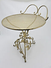 Vintage Hollywood Regency Gold Gilt Punched Metal Ivy Leaves Vanity Chair Stool