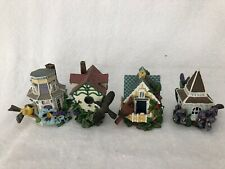 Lot of 4 miniature Bird Houses Cottages Decorative Resin 3""