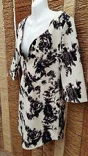 URMODA BNWT Ladies Black & Cream Floral Dress Size Large RRP £24.99