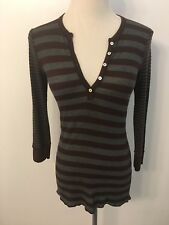SPLENDID Women's Size S Gray Brown Thermal Waffle Knit Top 3/4 Sleeve Bella Swan