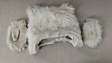 Gymboree off White faux fur  Winter Hat 2-3 T with 1 pair of matching  gloves