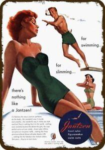 1951 JANTZEN FIGUREMAKER SWIMSUIT Vintage Look METAL SIGN - SEXY RED-HEAD WOMAN