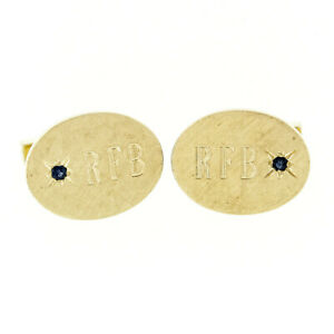Vintage Tiffany & Co. 14k Gold Old Round Blue Sapphire Oval Florentine Cufflinks