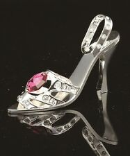 SILVER PLATED LADY HIGH HEEL SHOE FIGURINE/ORNAMENT SWAROVSKI CRYSTAL ELEMENTS