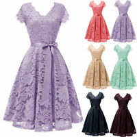 Women's Floral Lace Bridesmaid Dress V-Neck Cocktail Formal Party Vintage Prom