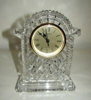 "Waterford Cut Crystal Lismore Carriage Mantel Clock Ireland 7 1/4"" signed"