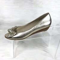 Steve Madden Women's Wedge Peep Toe Pumps Gold Leather Bow Size 8 M
