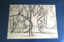 Original, Dessin crayon Arbres, signé Paul Charlot 1953