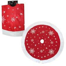 PMS 90cm Red Tree Skirt with White Snowflakes & Trim