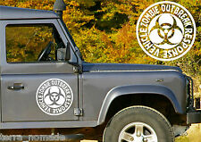Medium Zombie Response Vehicle, Decal, Land Rover, 4x4, Off Road,Outbreak, x 2
